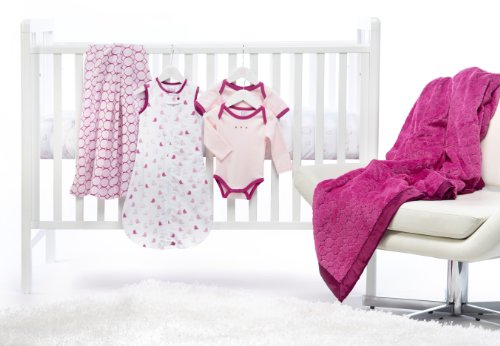 SwaddleDesigns 6 Piece Lightweight Crib Bedding Set with Luxury Adult Blanket, Very Berry, 0-6months