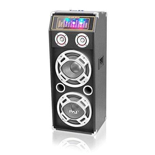 Pyle-PSUFM1035A-Bluetooth-1000-Watt-2-Way-Speaker-System-with-SD-Card-Reader-FM-Radio-35mm-AUX-Input-and-Flashing-DJ-Lights