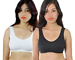 Vimal Black & White Sport Bra For Women (Pack Of 2)