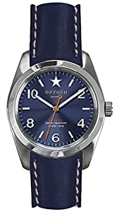 OXYGEN Boston 38 unisex quartz Watch with blue Dial analogue Display and blue leather Strap EX-S-BOS-38-CL-NA
