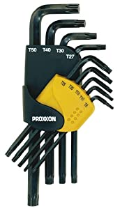 Proxxon 23944 Winkelschlüsselsatz für TX-Schrauben, 9-teilig TX 8 bis 50