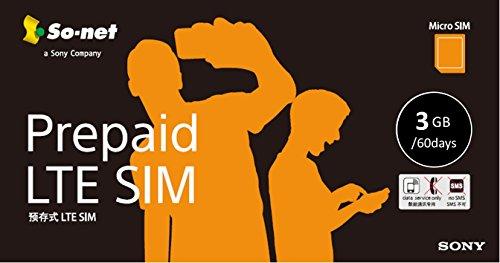 So-net Prepaid LTE SIM �ץ�� 3GB��60��֡�Micro SIM