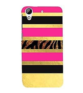PrintVisa Gold & Pink Animal Pattern 3D Hard Polycarbonate Designer Back Case Cover for HTC Desire 728