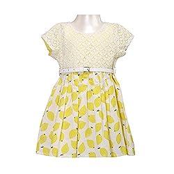 Soul Fairy Baby Girls' Dress (SFLMNDRS01_Yellow_0-6 Months)