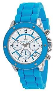 Naf Naf - N10049-216 - Régate - Montre Femme - Quartz Chronographe - Cadran Blanc - Bracelet Silicone Bleu