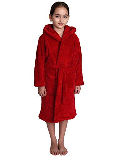 TowelSelections Big Girls' Hooded Plush Robe Soft Fleece Bathrobe Size 12 Red