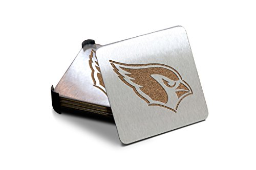 NFL Arizona Cardinals Boasters, Heavy Duty Stainless Steel Coasters, Set of 4