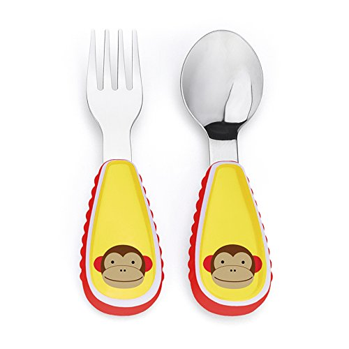 Skip Hop Baby Zoo Little Kid and Toddler Fork and Spoon Utensil Set, Multi Marshall Monkey