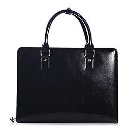 ZLYC Men Fashion Genuine Leather Business Briefcase Messenger Laptop Attache Bag, 13.6 Inch, Black