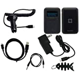 6 Pieces Premium Accessories Combo for Sandisk Sansa Clip Plus, includes - Black Soft Silicone Skin Case, Car Charger,Wall Charger, Straight USB Data cable, Straight Auxiliary 3.5mm to 3.5mm MP3 Jack Cable, Fishbone Style Keychain