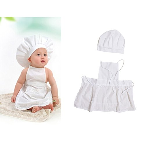 [Cute Baby White Cook Cooker Costume Photo Photography Prop Newborn Infant Hat Apron] (Baby Chef Costumes)