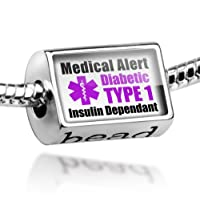 "Neonblond Beads Medical Alert Purple ""Diabetic Insulin Dependant TYPE 1"" - Fits Pandora Charm Bracelet by NEONBLOND Jewelry & Accessories"