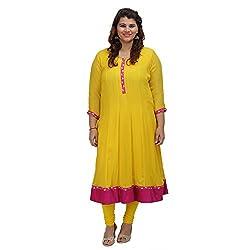 Damyantii Yellow Georgette 3/4 Sleeve Anarkali casual XXL Kurta (Dmk_036_XXL)