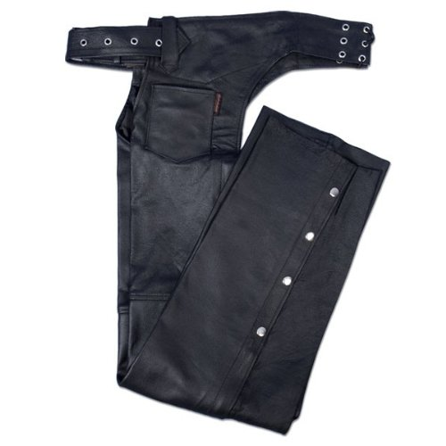 Hot Leathers Fully Lined Leather Chaps (Black, Medium)