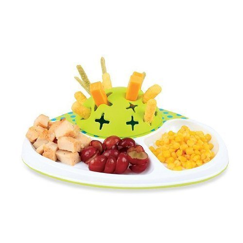 Sassy BPA FREE Baby Toddler Feeding 3D Sectioned Plate in White/Green - 1