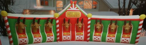 Rare Colossal 17.7Ft Wide Airblown Inflatable Holiday Christmas Reindeer Stable With 8 Reindeer Indoor/Outdoor Display front-950213