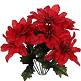 """(Pack of 4) Christmas House 7-stem Red Poinsettia Bushes with Glittered Accents, 13"""""""
