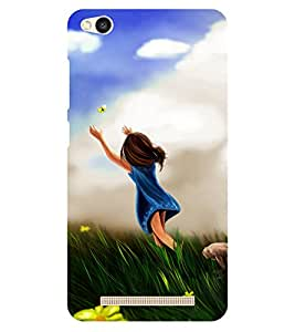 Chiraiyaa Designer Printed Premium Back Cover Case for Xiaomi Redmi 3S (girl flower butterfly nature running) (Multicolor)