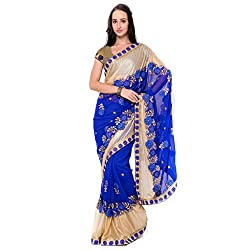 Suchi Fashion Blue Georgette And Lycra Embroidered Wedding Saree