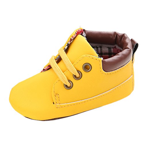 Infant Boys Autumn Casual High Top T-tied Suede Crib Sneakers Boots Yellow 6-12 Month