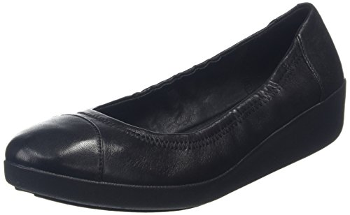 Fitflop F-Pop Leather, Ballerine Donna, Nero (All Black), EU 37.5 (UK 4.5)
