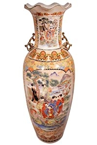 "36"" High Rustic Chinese Porcelain Satsuma Temple Vase. Gold Glaze on White Background with Asian Landscape Pattern"