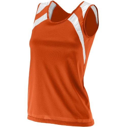 Augusta Sportswear Women's Wicking Shoulder Tank, Orange White, Medium
