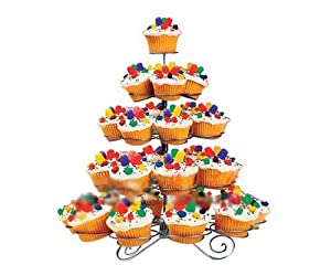5 Tier Cupcake Tree 41 Cup Cake Dessert Silver Stand Holder