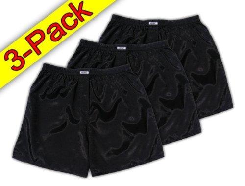 (L) 3-Pack Black Boxer Shorts Underwear Men Sleepwear Satin