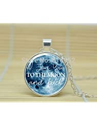 "✔ Antique Silver Polished "" I Love You TO THE MOON And Back "" Glass Dome Cabochon Pendant Necklace Hot Selling..."
