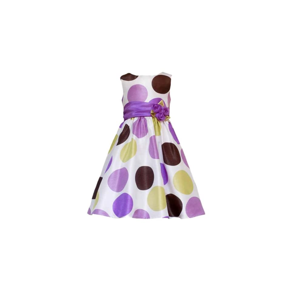 Size 5 RRE 50502E PURPLE GREEN MULTI BIG DOT SHANTUNG Special Occasion Wedding Flower Girl Easter Party Dress,E350502 Rare Editions LITTLE GIRLS