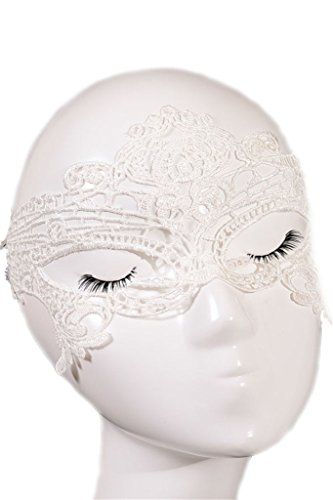 Happy Sailed Women's Halloween Masquerade Party White Lace Mask