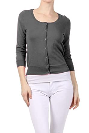 G2 Chic Women's Quarter Sleeve Button Cardigan(TOP-CGN,DGY-M)