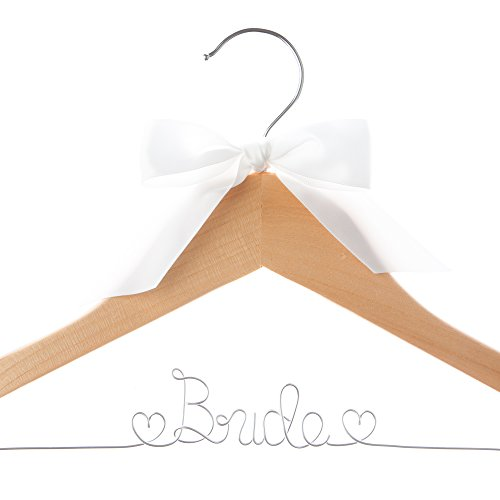 Bride Wedding Dress Hanger, Wooden and Wire Hangers for Gown (Natural Wood with Silver Wire)