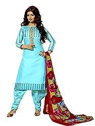 Meghali Women's Cotton Unstitched Salwar Suit (MGBD13D08_Blue_Free Size)