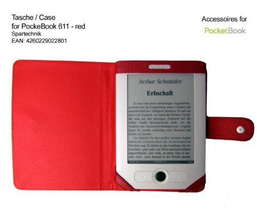 Red Case for PocketBook 611 Basic Obreey - carry case, etui for Pocket Book 611 Basic Obreey Lidl E-reader - red at Electronic-Readers.com