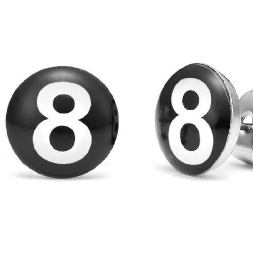 Trendy Stainless Steel 8 Ball Billiard Pool Black Stud Earrings for Men