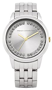 French Connection Women's Quartz Watch with White Dial Analogue Display and Silver Stainless Steel Bracelet FC1118SW