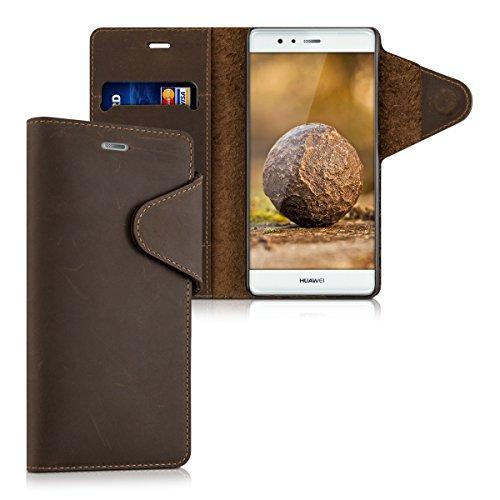 kalibri-Echtleder-Wallet-Hlle-fr-Huawei-P9-Case-mit-Fach-und-Stnder-in-Braun