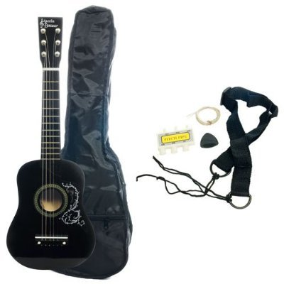 Kid's Acoustic Toy Guitar with Carrying Bag and Accessories - Black