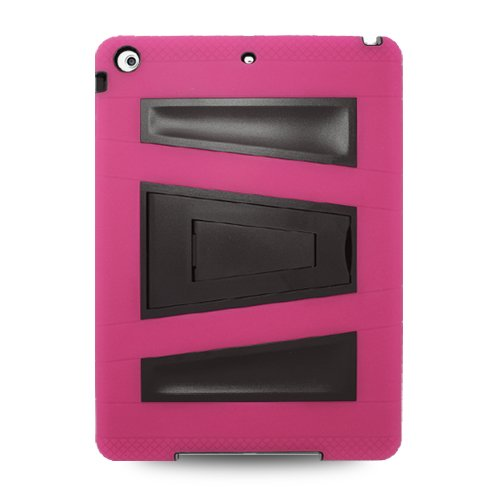 Apple iPad Air (iPad 5 5th Generation) Hybrid Skin Case with Kickstand - Hot Pink/Black