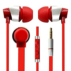 Hello Zone Sporty look and Comfort Fit Stereo Headset Handsfree Headphone Earphone with Mic 3.5 MM Jack for Samsung Galaxy Grand Max G-7200 -RED