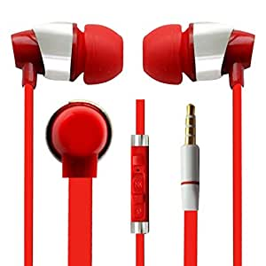 Hello Zone Sporty look and Comfort Fit Stereo Headset Handsfree Headphone Earphone with Mic 3.5 MM Jack for Archos Diamond S -RED
