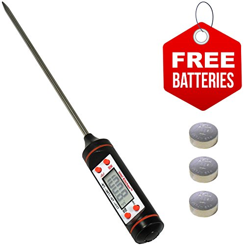 Highly Accurate Digital Food Thermometer by Intel Kitchen + 2 Sets of Free Batteries (DFTA01) Professional Internal Meat Thermometer for Oven & Barbecue Grill Cooking. For Beef, Pork, Chicken, Turkey (Meat Smoking Pan compare prices)