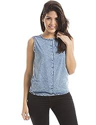Shuffle Women's Plain Shirt (1021505801_Cloud Wash_Large)