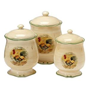amazon com royal rooster 3 pc canister set food