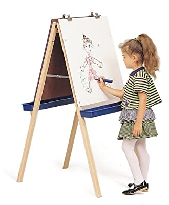 Whitney Brothers Adjustable Easel with Chalk and Write/Wipe Boards