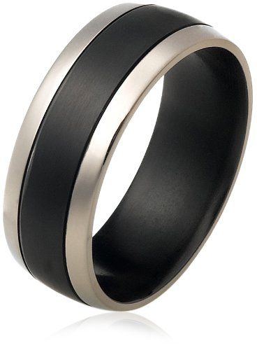 Men's Black Titanium 8mm Wedding Band Ring with Thick Center Stripe, Size 9