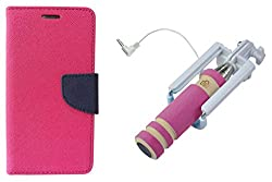 Novo Style Book Style Folio Wallet Case Xiaomi MI4I Pink + Wired Selfie Stick No Battery Charging Premium Sturdy Design Best Pocket SizedSelfie Stick