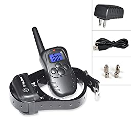 Petrainer Waterproof Pet Remote Training Shock Collar Dog Bark Collar E-collar (Type 1 : For 1 dog)